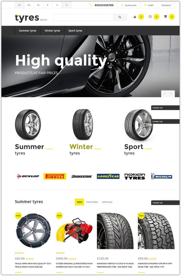 Tyres Store OpenCart Template