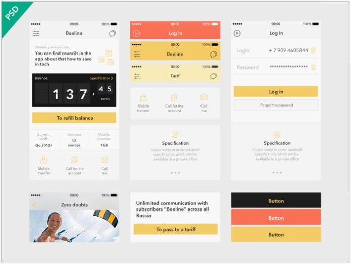 UI Kit Beeline app [Freebies]