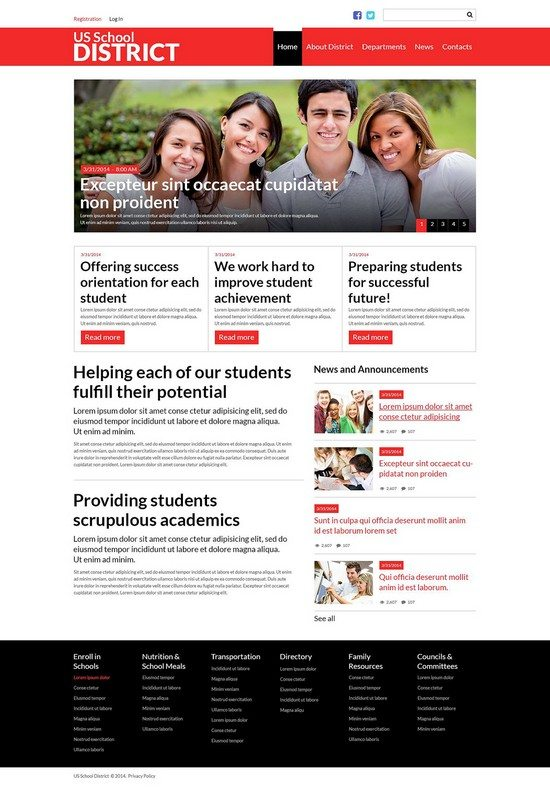 US School District Website Joomla Template