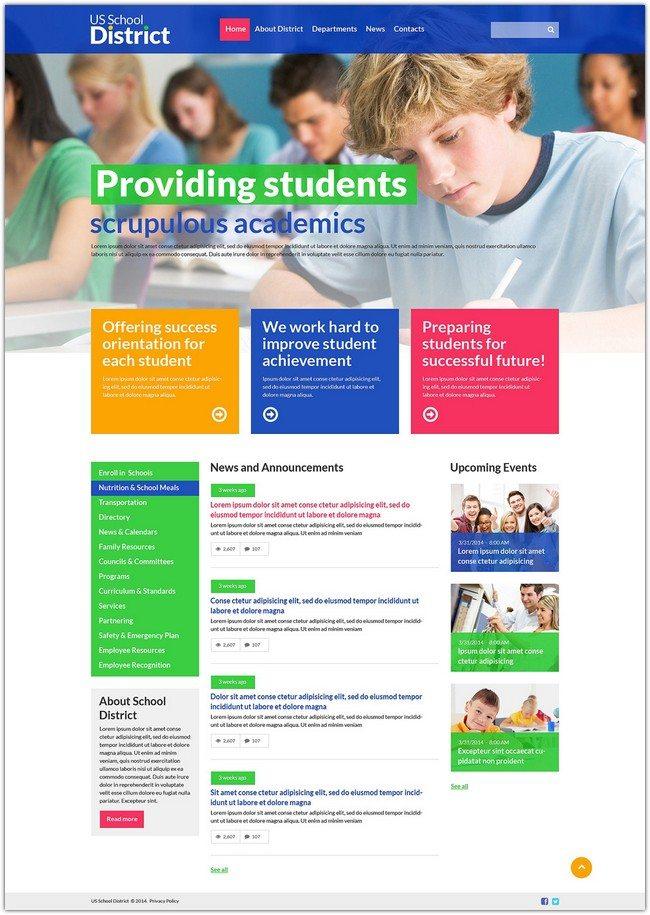 US School University Responsive Website Template