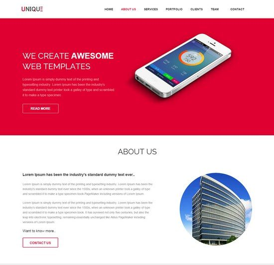 Unique Free Responsive HTML5 Template