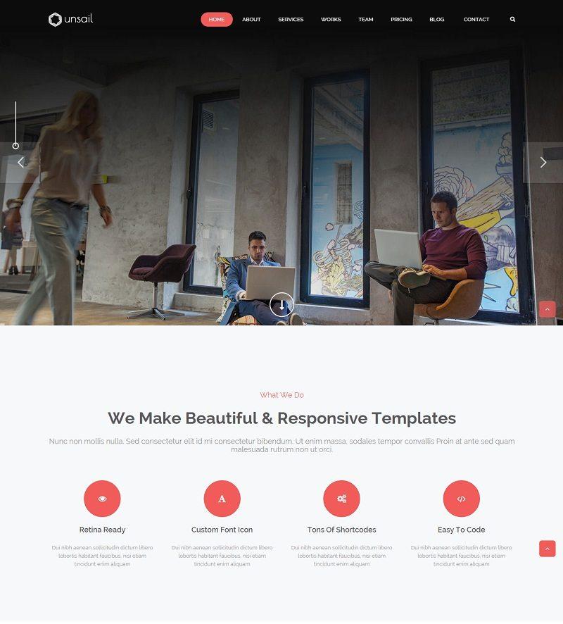 Unsail One Page WordPress Parallax Theme