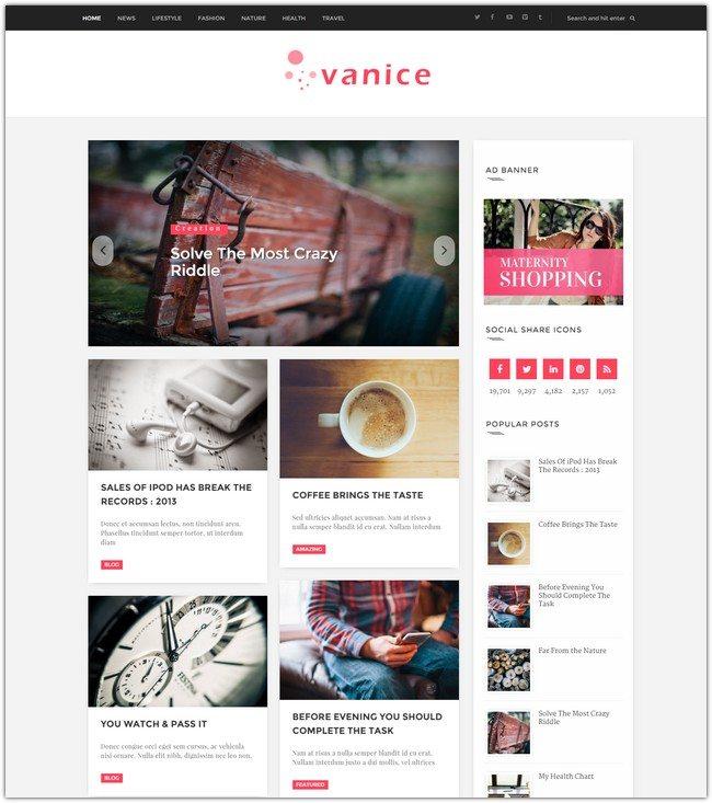 Vanice Modern Blogger Template