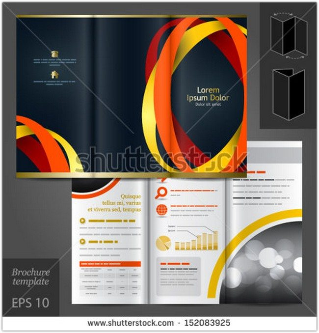 Vector black brochure template design