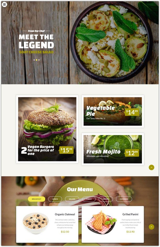 Vegan Food - Vegetarian Restaurant Responsive Website Template