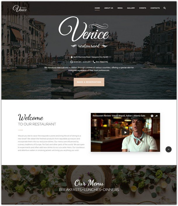 Venice Restaurant - Cafe & Restaurant Responsive Website Template