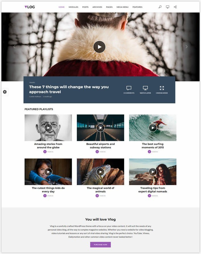 Vlog - Video Blog WordPress Theme