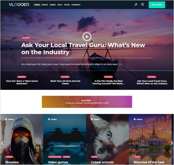 Vlogger Professional Video & Tutorials WordPress Theme