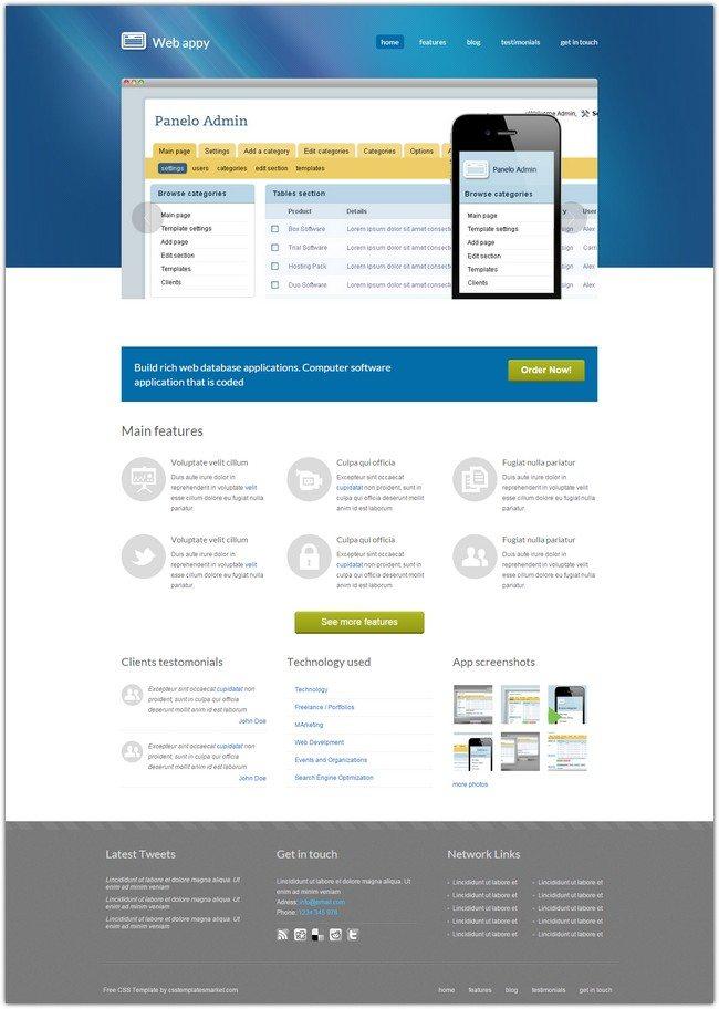 Web appy Dreamweaver Template