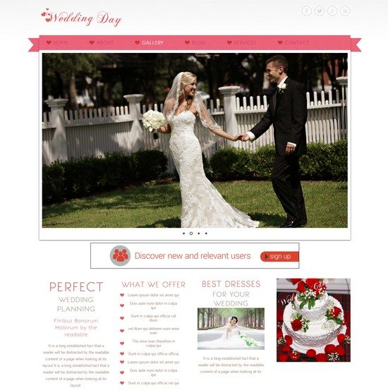 Wedding Day a wedding planner Mobile Website Template