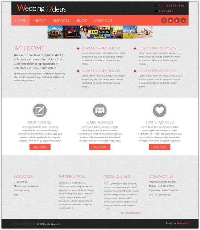 Wedding Ideas a wedding planner Mobile Website Template