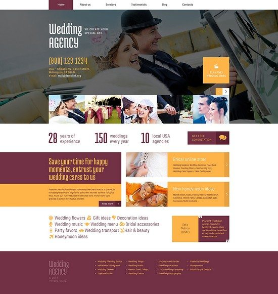 Wedding Planner Responsive WordPress Theme