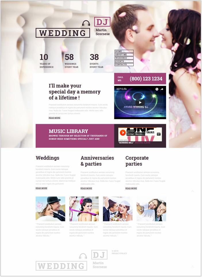 Wedding Responsive Moto CMS 3 PHP Template