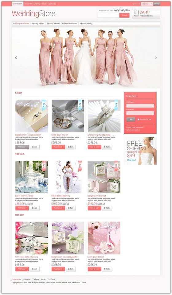 Wedding store VirtueMart Template