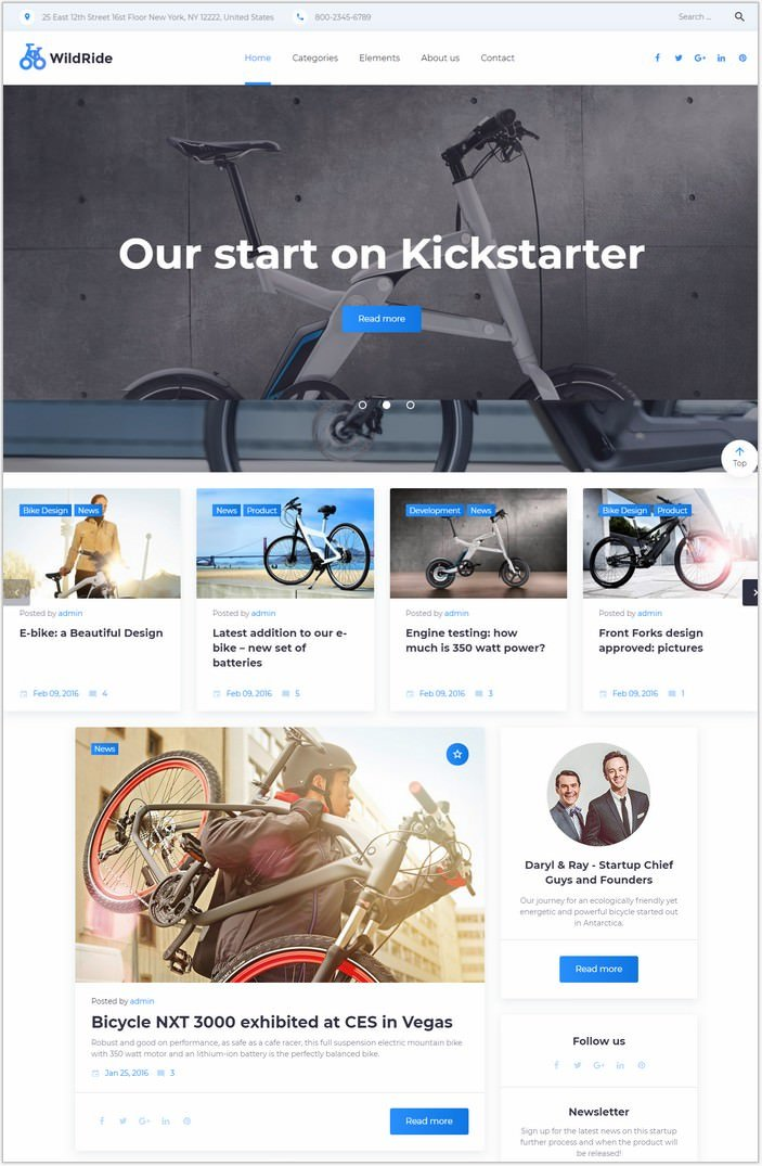 WildRide - Sports Bicycle WordPress Theme