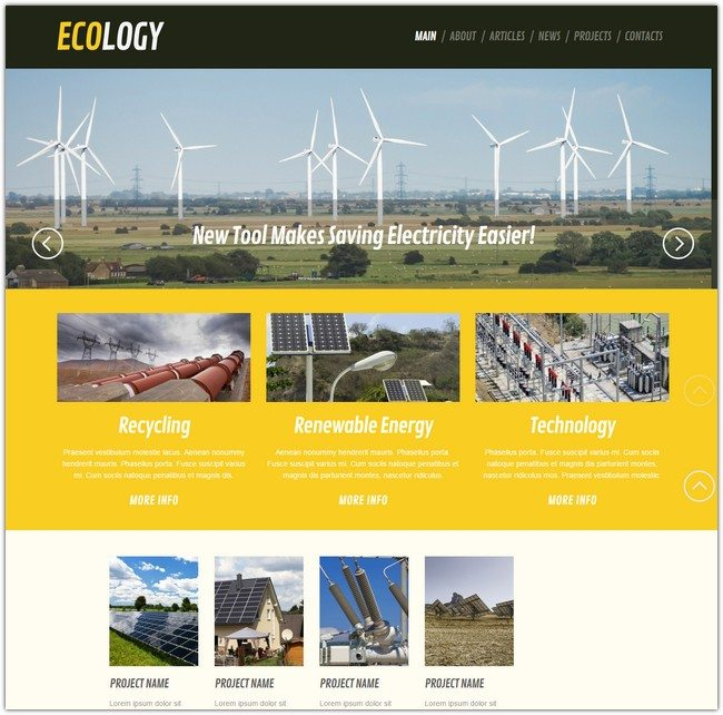 Wind Energy Ecology Responsive WordPress Theme