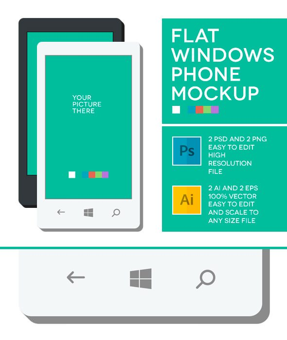 Windows Phone Flat Mockup Free Download
