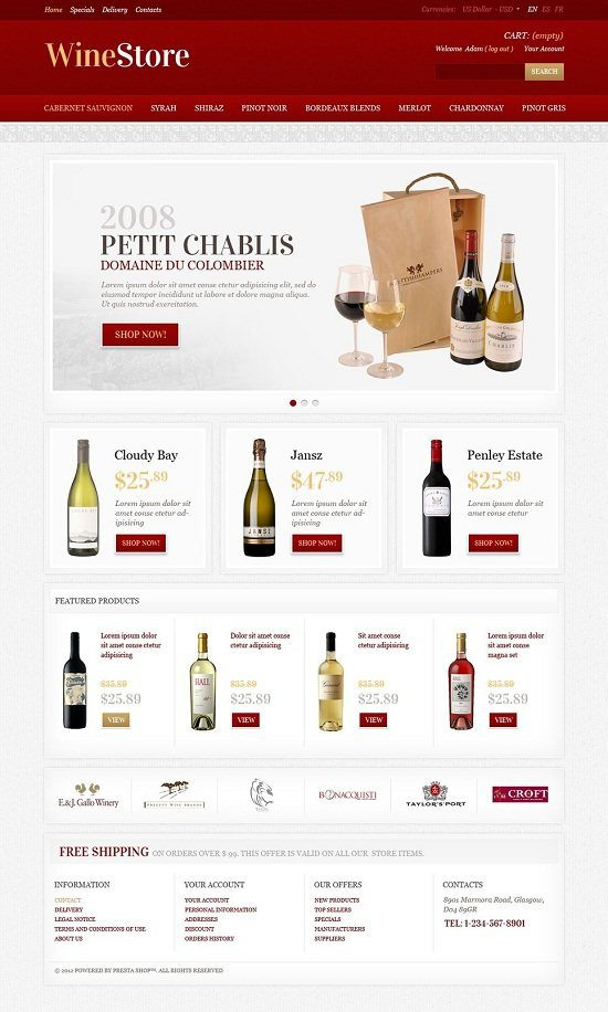 Wine Store PrestaShop Theme d