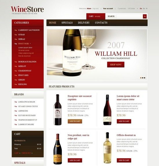 Wines for Gourmets PrestaShop Theme