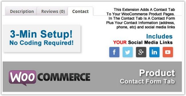 WooCommerce Product Contact Form Tab