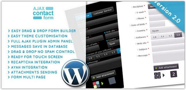WordPress Ajax Contact Form with attachments 2.0