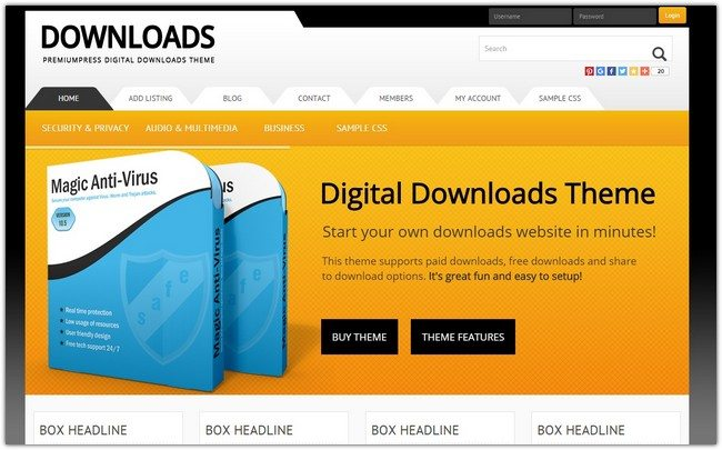 WordPress Digital Downloads Theme