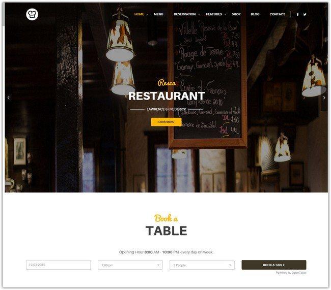 WordPress Restaurant Theme - Resca