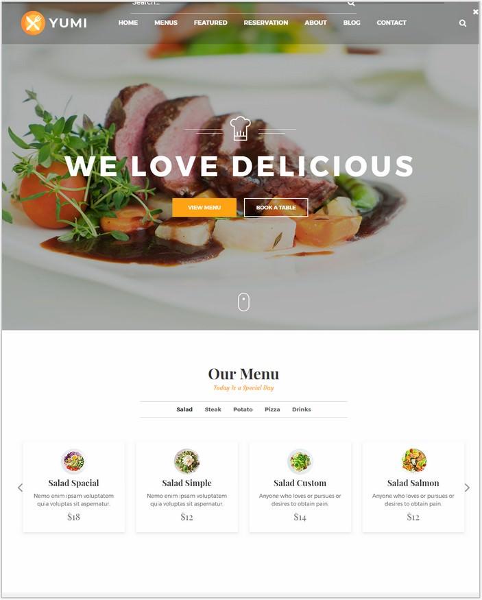 Yumi Restaurant - Restaurant HTML5 PHP Template