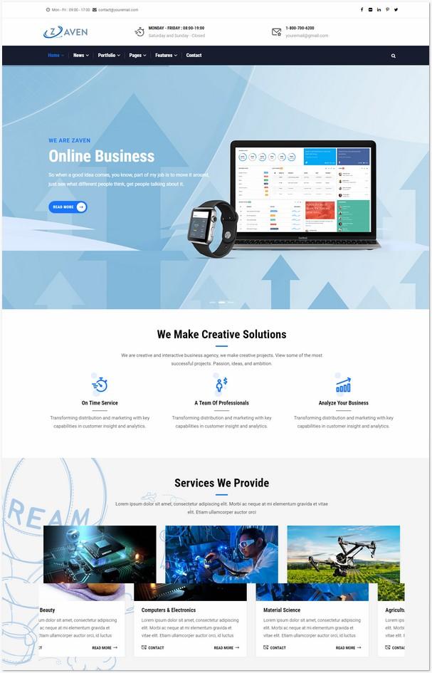 Zaven - Responsive Business Service Drupal 8 Theme