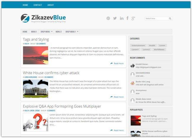 ZikazevBlue Blogger Template
