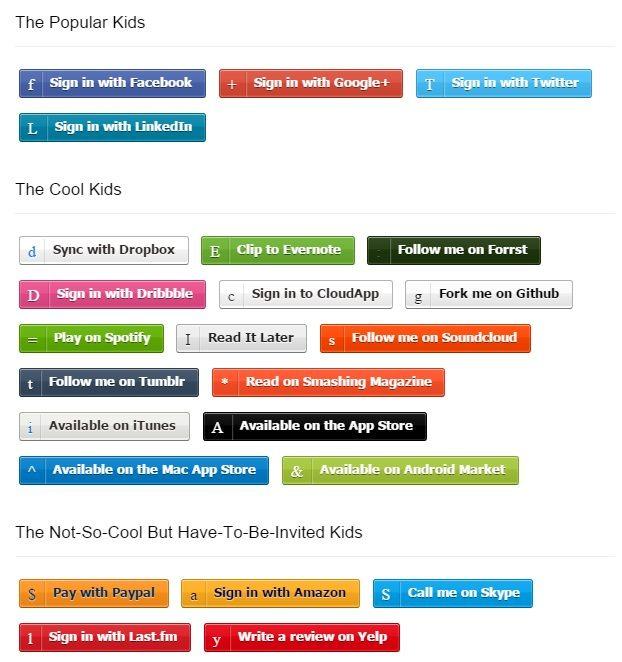 Zocial (Social Media) CSS3 Buttons