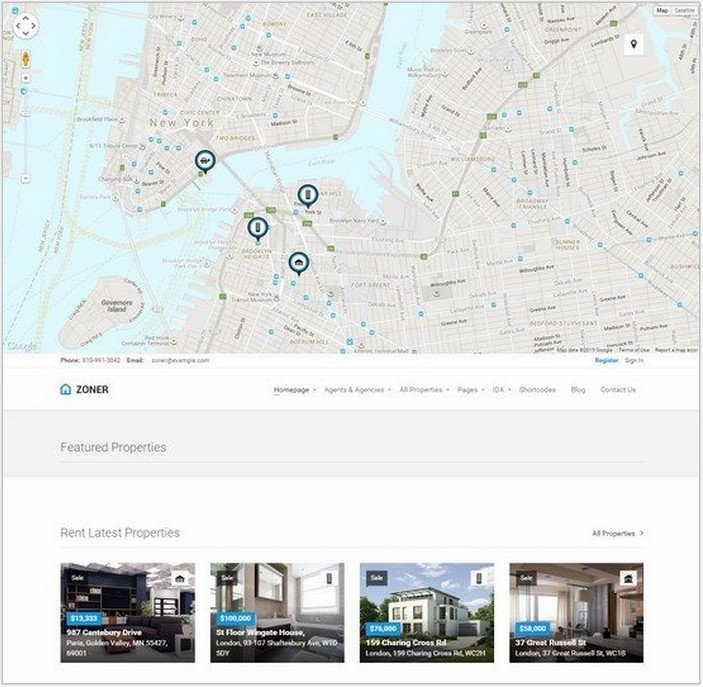 Zoner – Real Estate WordPress theme