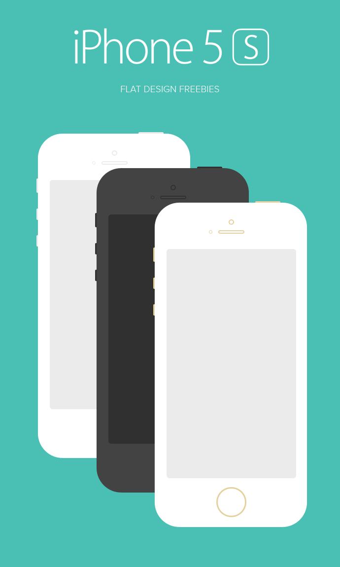 iPhone 5S Flat Design(PSD)