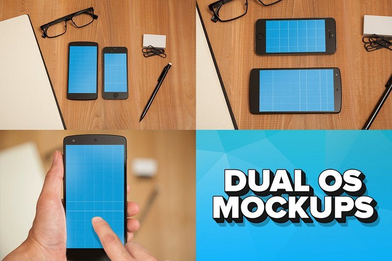 iPhone 5s and Nexus 5 Dual OS PSD Mockups
