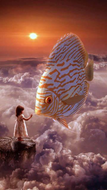 Iphone-fish-wallpapers-fantasy-girl-fish-clouds-sky