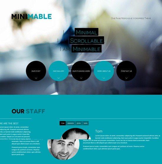 minimal, scrollable, responsive, one page wordpress theme