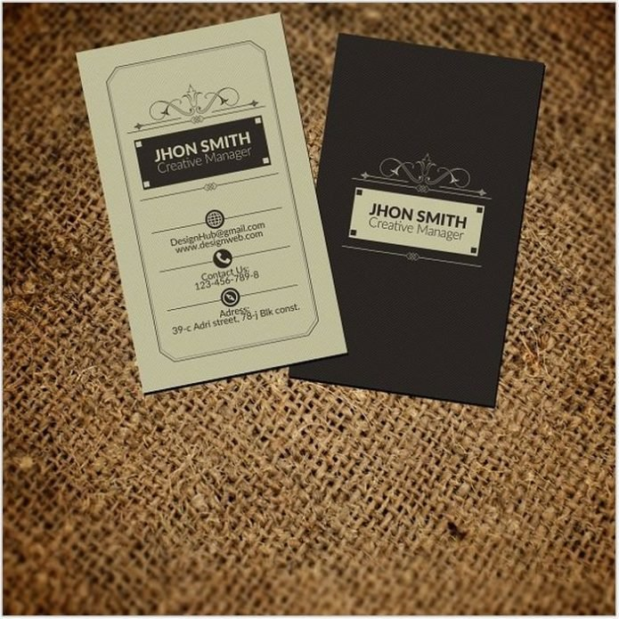 vertical Retro Vintage Business Card