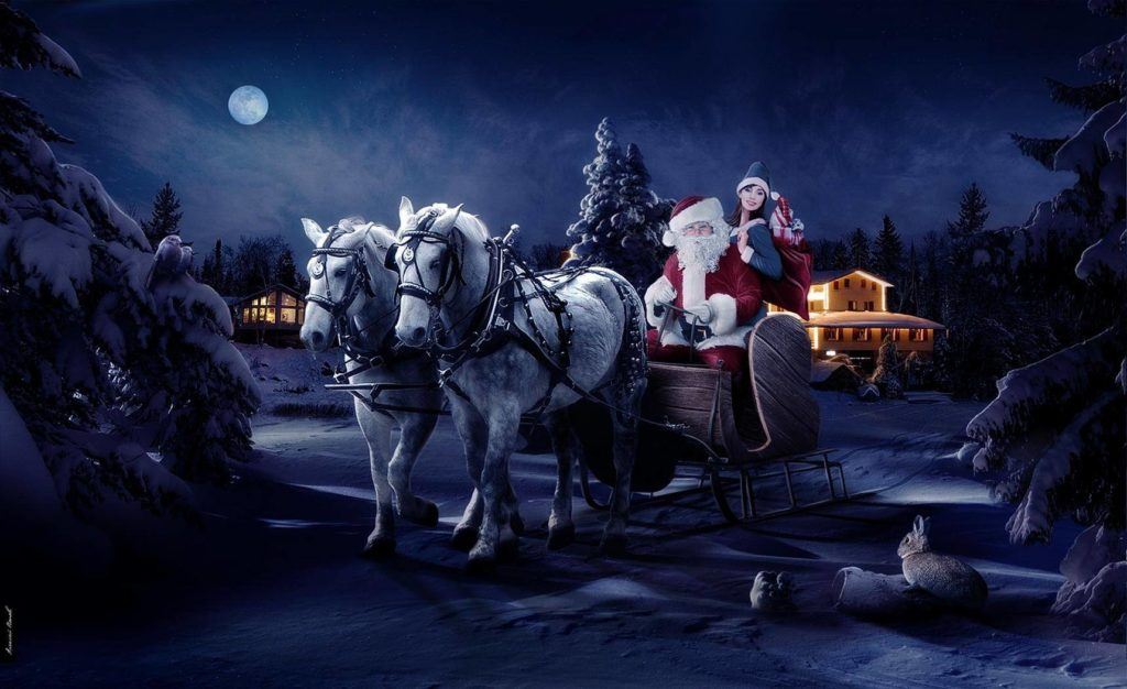 santa claus with sleigh christmas wallpaper
