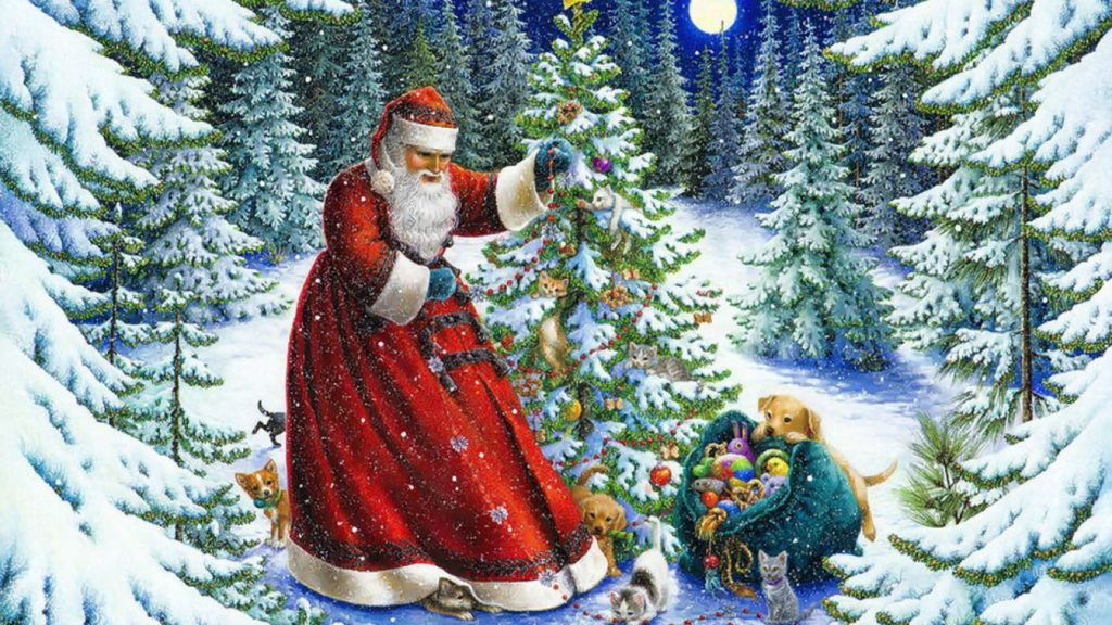 christmas santa paintings wallpaper