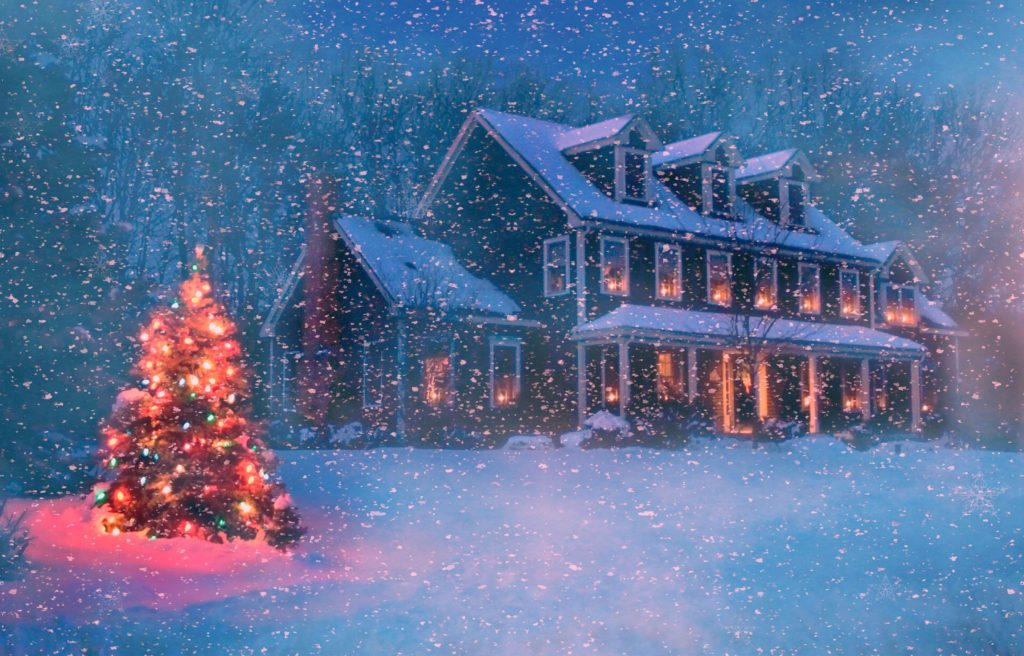 christmas winter house Wallpaper