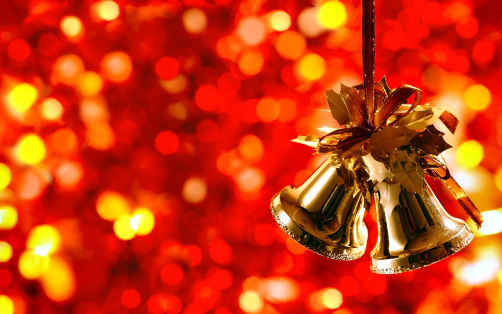 Christmas Bell Red Christmas Bokeh Wallpaper