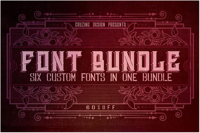 6 Custom Fonts in 1 Bundle