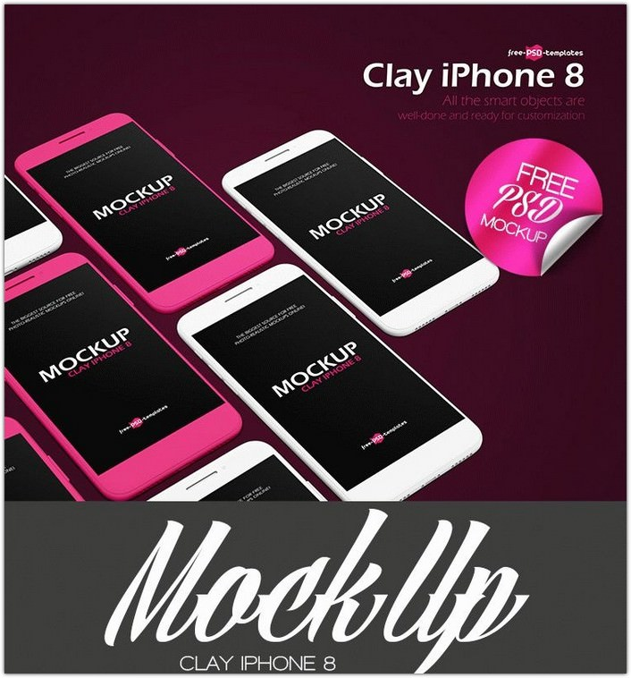 Clay Iphone 8 Mock-up In Psd