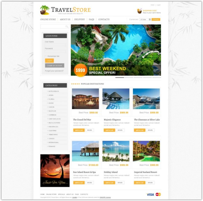 Fly Travel VirtueMart Template
