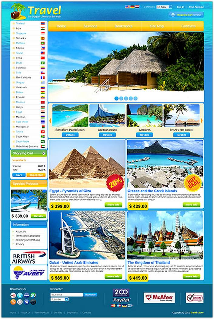 Travel Store VirtueMart Template #1223