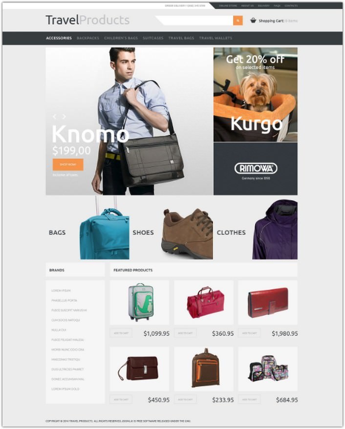 Travel Store VirtueMart Template # 3