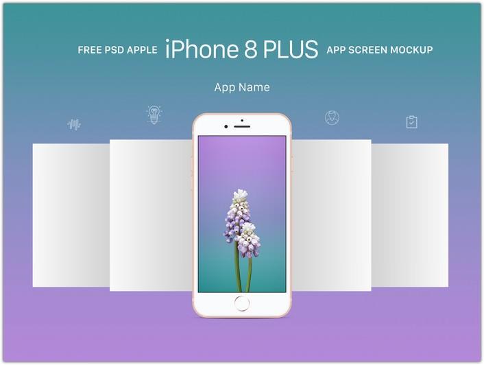 iPhone 8 Plus App Screen Mockup PSD