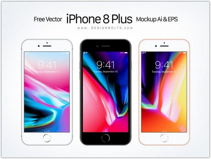 iPhone 8 Plus Mockup Ai & EPS