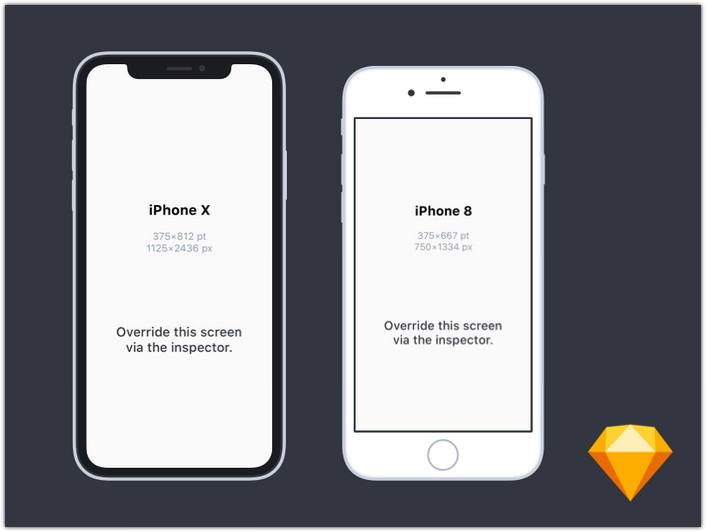 iPhone X and iPhone 8 Mockups for Sketch