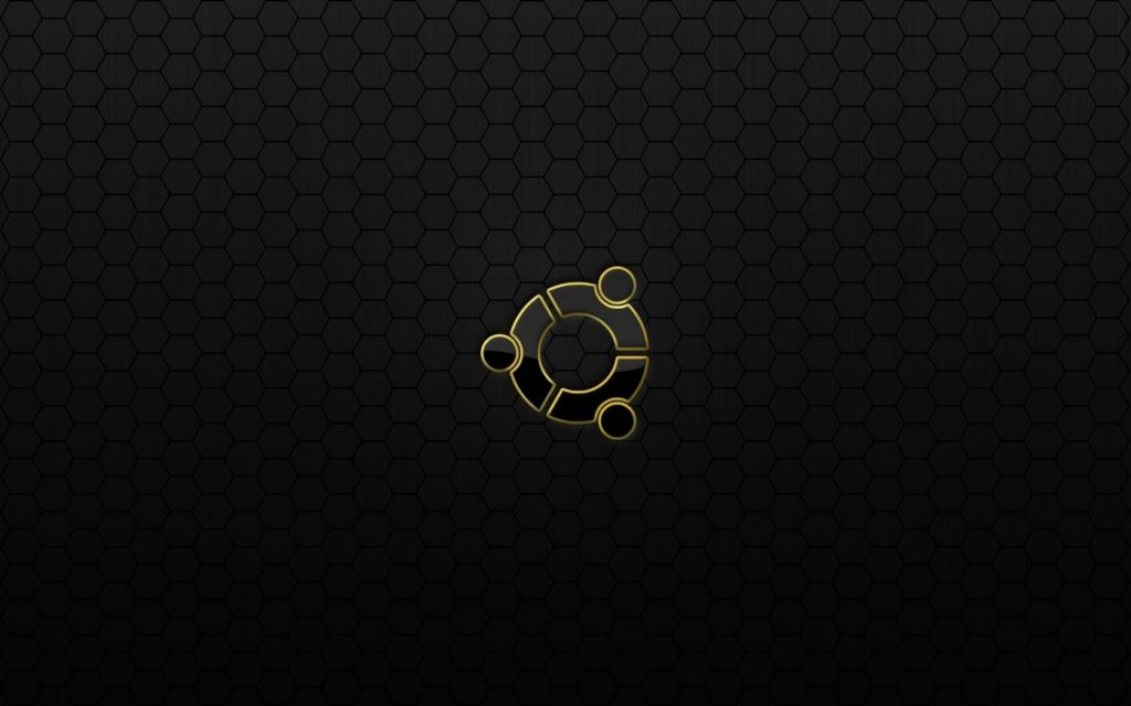 ubuntu black Pattern With yellow logo